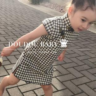 夏季兒童旗袍唐裝 女童格子旗袍兒童旗袍連衣裙旗袍親子裝母女裝