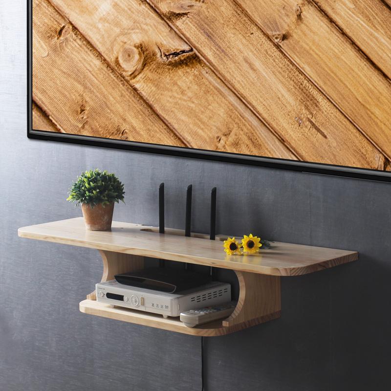 電視機頂盒置物架壁掛免打孔 實木 墻上臥室無線wifi路由器收納盒