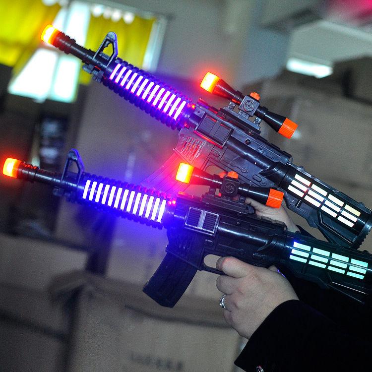 儿童电动冲锋语音枪音乐声光玩具枪小孩礼物地摊夜市热卖货源