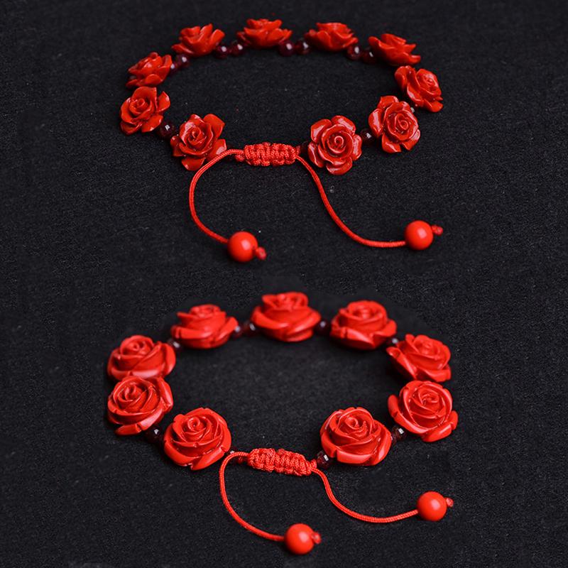 天然朱砂手链辟邪民族风本命年红色玫瑰花手串石榴石女款复古简约