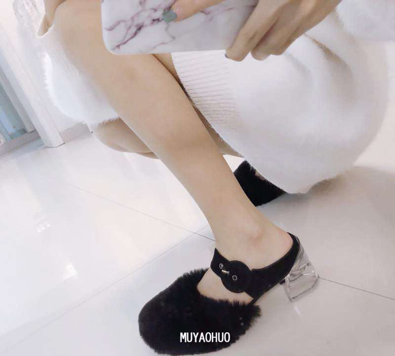 Spring and summer new crystal transparent heel sandals slippers Maomao shoes show square head low heel shoes buckle leather womens shoes