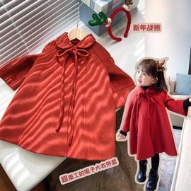 女童秋冬外套2020冬装新款儿童毛呢新年装红色加绒加厚呢子大衣