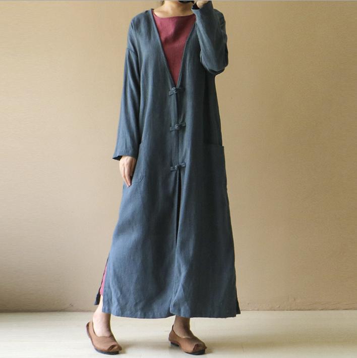 例外原创秋冬新款棉麻开衫大码女装复古盘扣宽松风衣亚麻长款外套