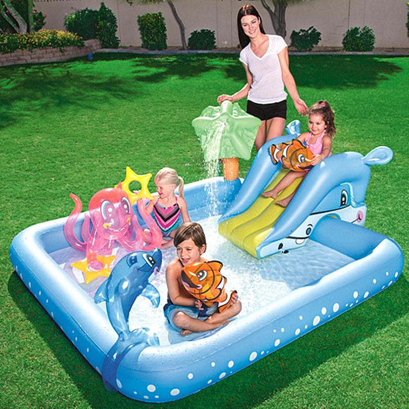 儿童带滑梯游泳池充气婴儿家用可喷水宝宝戏水池加厚超大号洗澡池