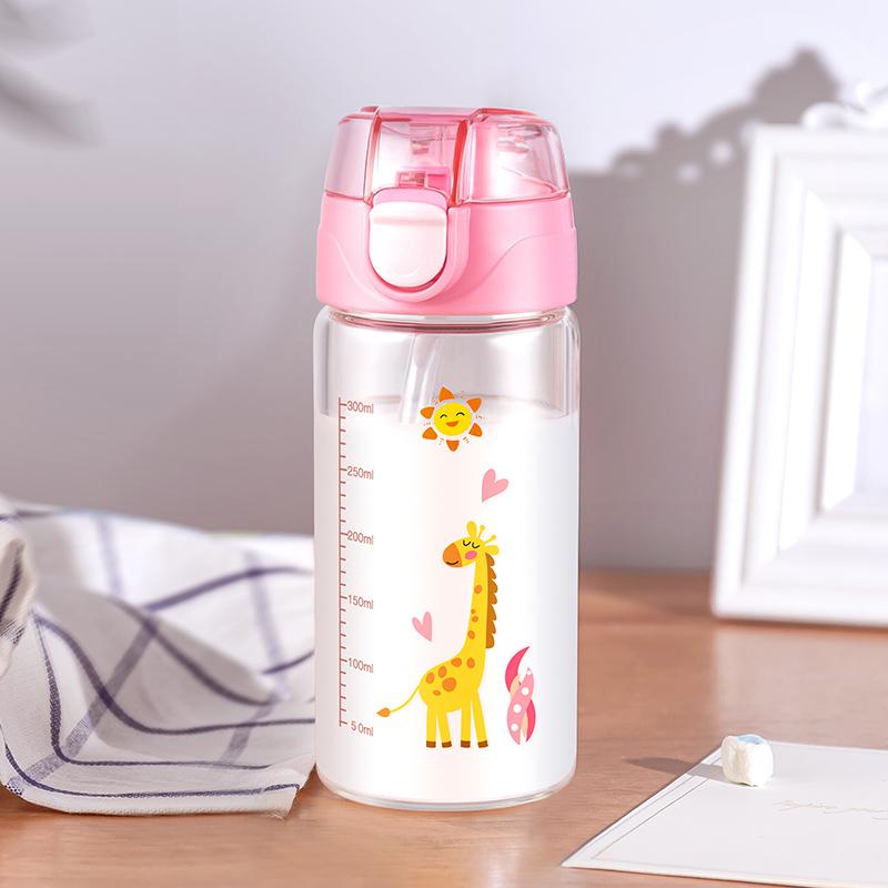 家用儿童冲牛奶粉杯刻度杯子早餐吸管玻璃水杯带盖可微波炉加热