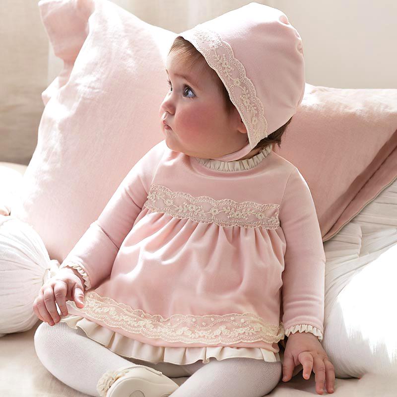 西班牙mayoral长袖花边连衣裙粉色丝绒带帽公主裙女童裙子秋冬