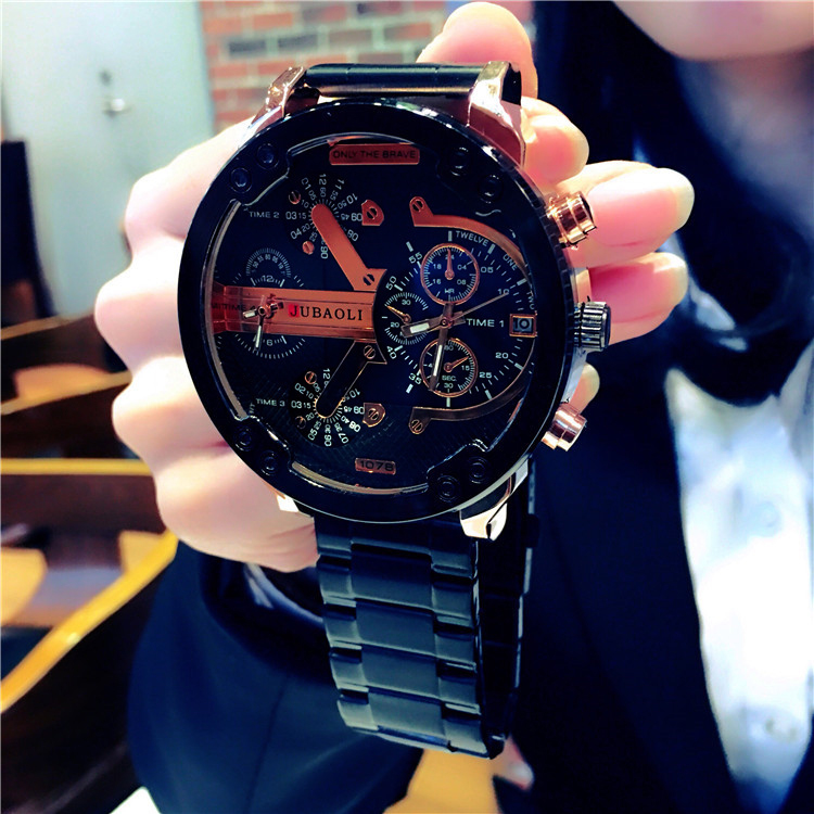 Nordic waterproof large dial watch mens fashion trend mens steel band quartz watch creative student business Watch