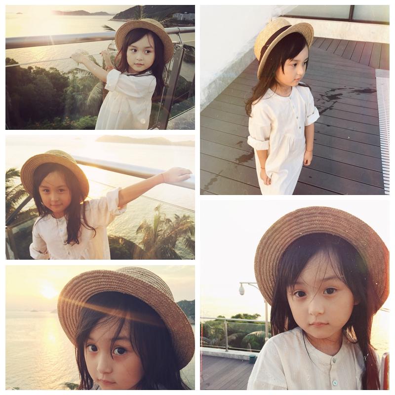 新款儿童草帽防晒男女宝宝可折叠夏天沙滩遮阳帽亲子海边礼帽男女