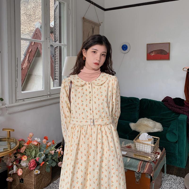 芝士兔自制 韩版气质温柔碎花娃娃领连衣裙收腰显瘦泡泡袖中长裙