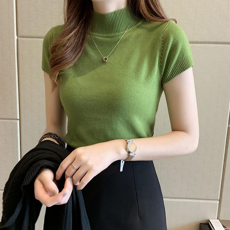 2020夏季新款半高领打底衫女短袖针织衫内搭薄款毛衣短款修身上衣图片