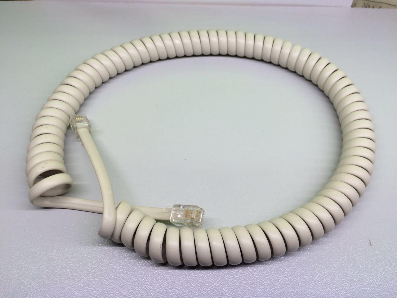 办公电话机话筒加长听筒线铜丝红色灰色电话座机连接手柄曲线黄色