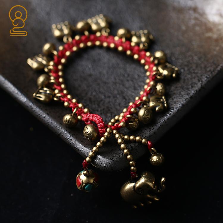 梵印尘品藏式纯铜蜡绳手工编制玉米结手串手链 吉祥如意 多款式