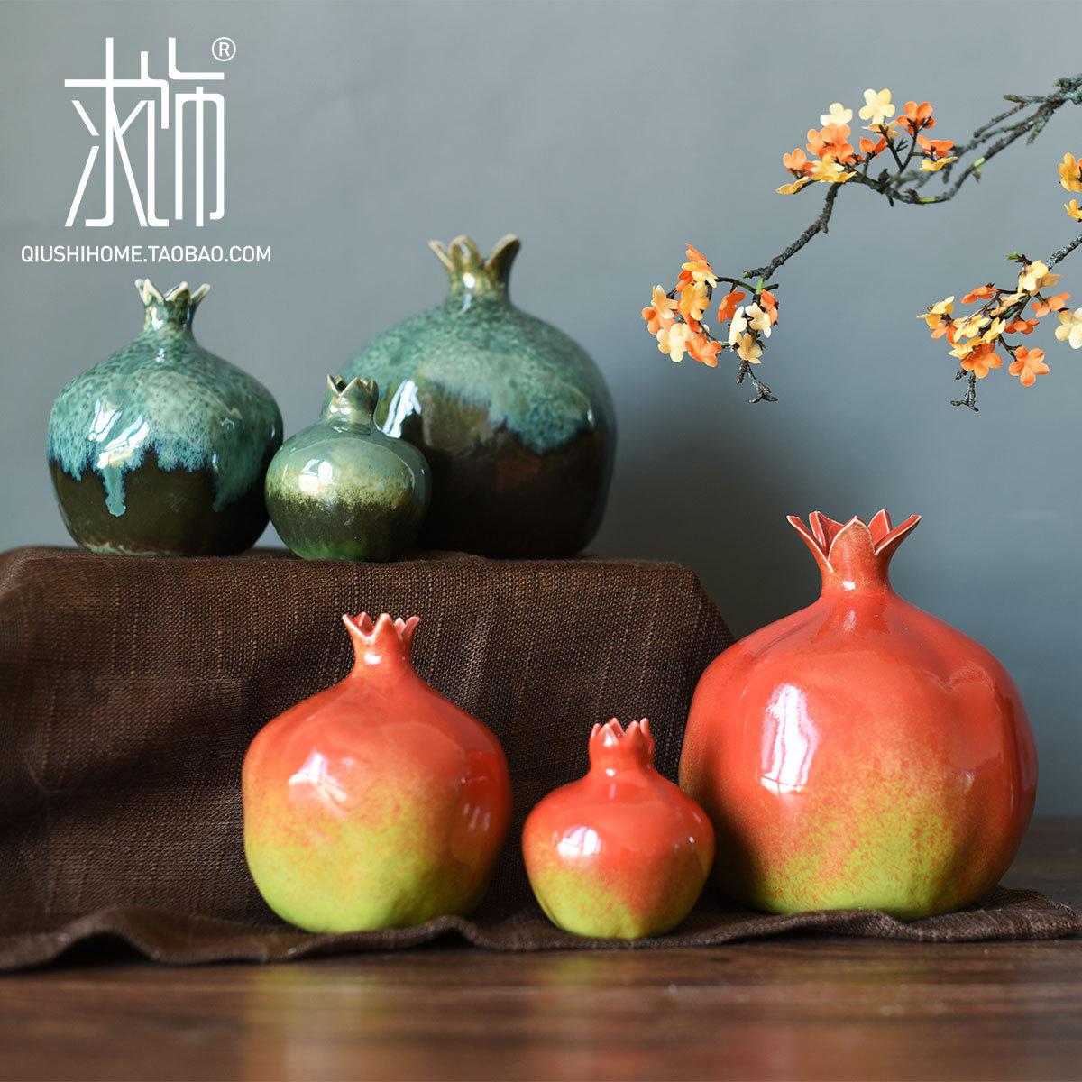 求饰 仿生定制 陶瓷石榴新结婚礼物客厅创意摆件家居装饰品工艺品