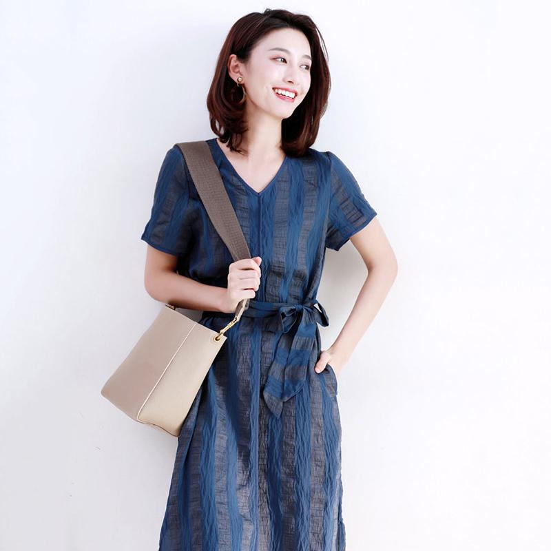 TOUCH MISS   高端品牌女装优雅时髦下摆开叉连身裙大气显瘦V领