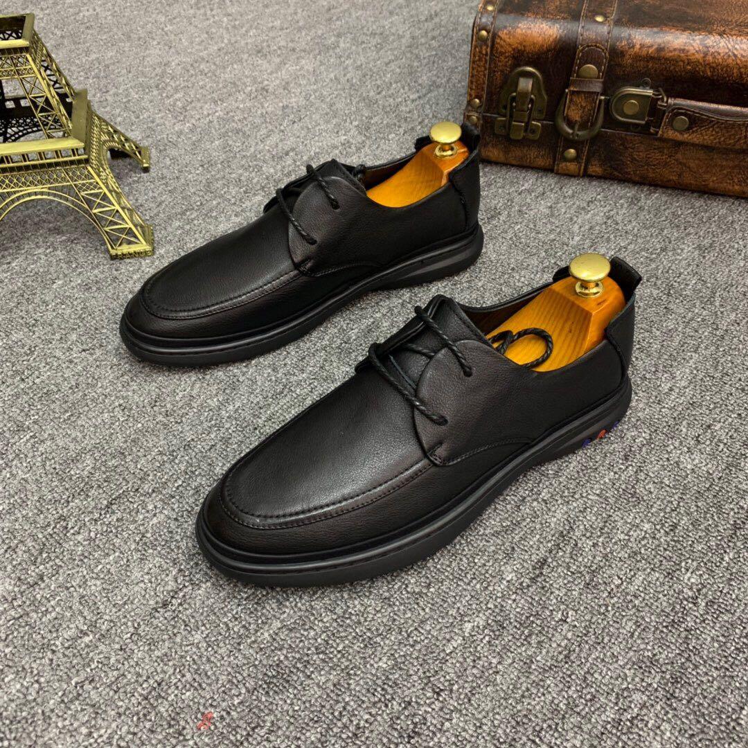 广州男鞋黑色真皮软底系带英伦商务休闲皮鞋正装德比鞋男休闲鞋子