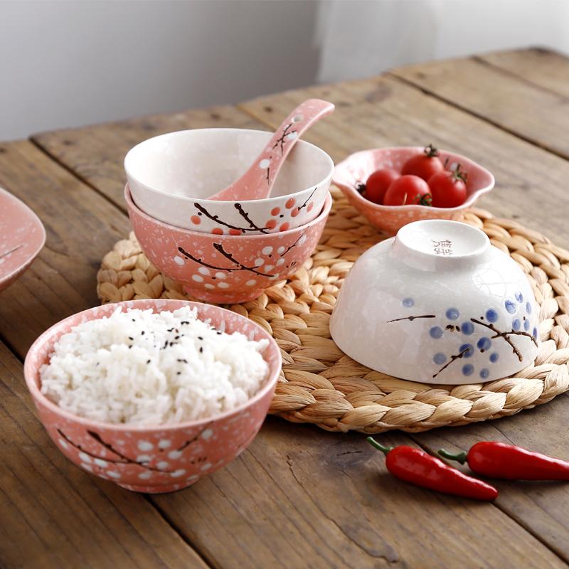 萌兽日式小米饭碗4.5英寸雪花小汤碗家用碗酒店瓷特惠包邮餐厅碗