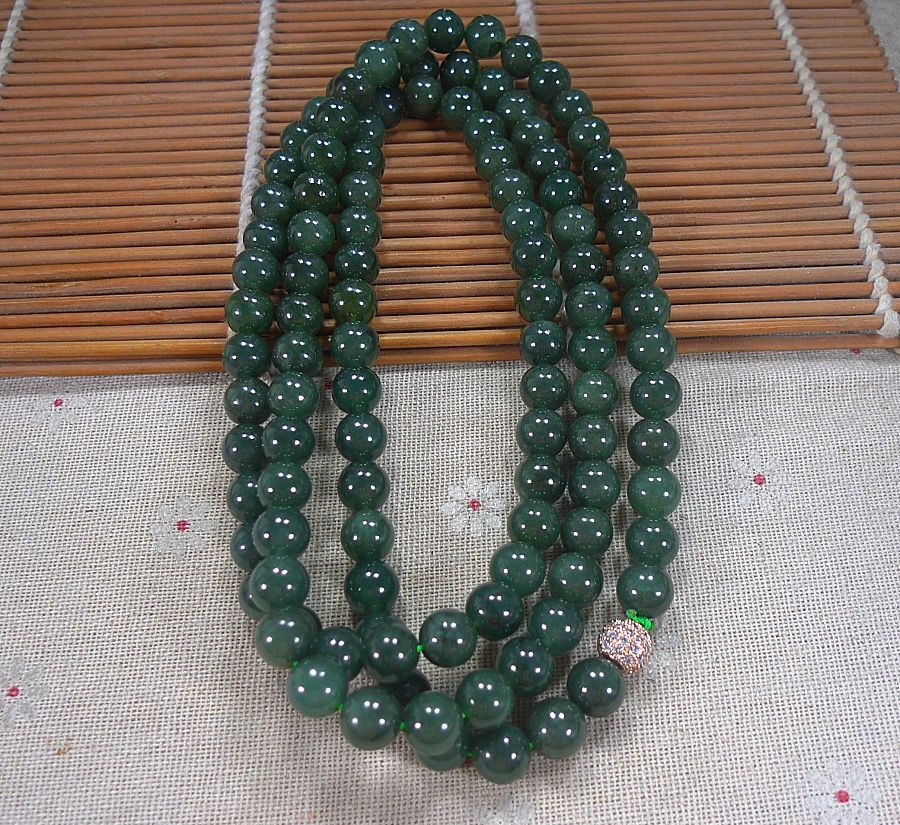 即将结束一元拍卖会天然翡翠A货带证-满绿色油青绿长款圆珠项链
