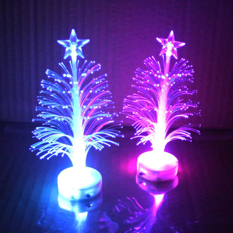 星星可粘贴创意七彩LED圣诞树光纤装饰小夜灯 儿童发光玩具小礼品