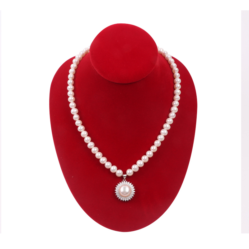 Pearl necklace natural authentic for mother Round Pendant style clavicle female sterling silver inlaid with fresh water single white Korean