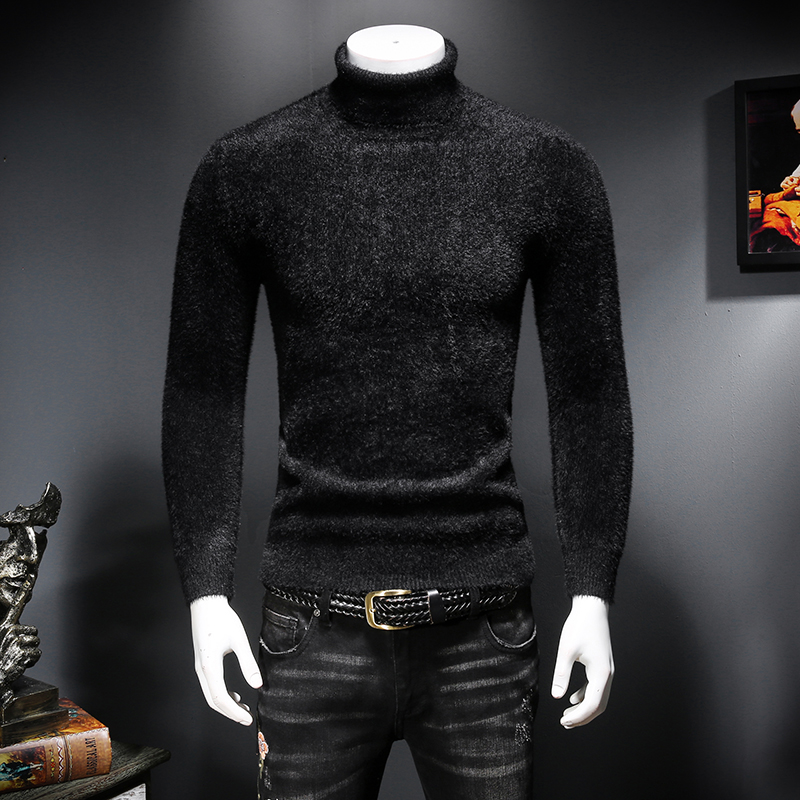 Winter mens high territorial mink sweater slim and thickened warm sweater casual black bottomed sweater