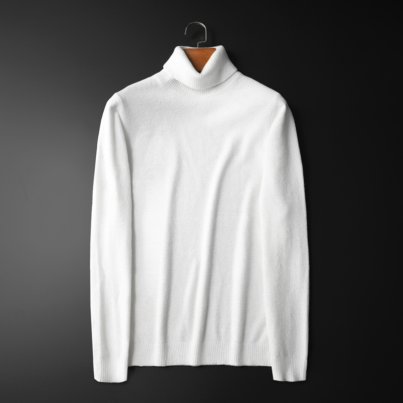 Autumn and winter mens pure white high neck sweater large size thickened slim fit knit sleeve bottomed cashmere sweater