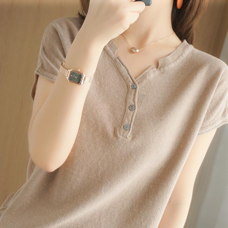 夏季棉麻V领半袖T恤女2021新款亚麻宽松纯色短袖系扣上衣纯棉外穿