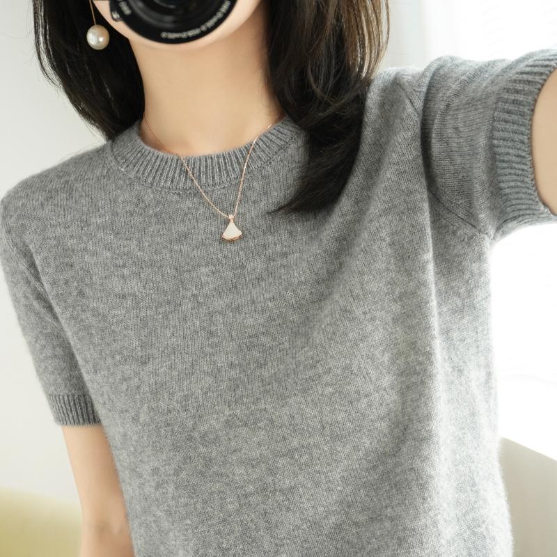 春秋圆领短袖女羊毛衫宽松短款打底衫半袖针织衫薄款中袖羊绒毛衣