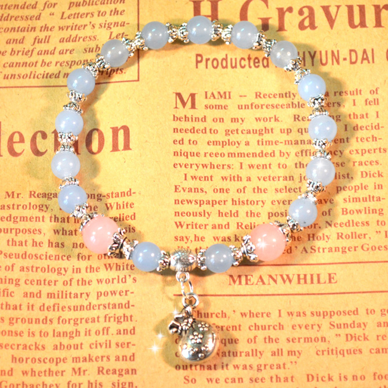 Natural blue jade chalcedony Bracelet womens single circle pink crystal agate fashion first jewelry for girlfriends birthday and New Year gift