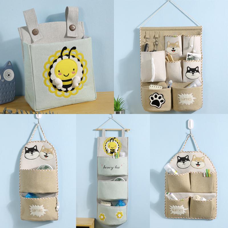 门口收纳袋挂袋墙挂式布艺大容量韩国可爱浴室大号门后收纳挂袋