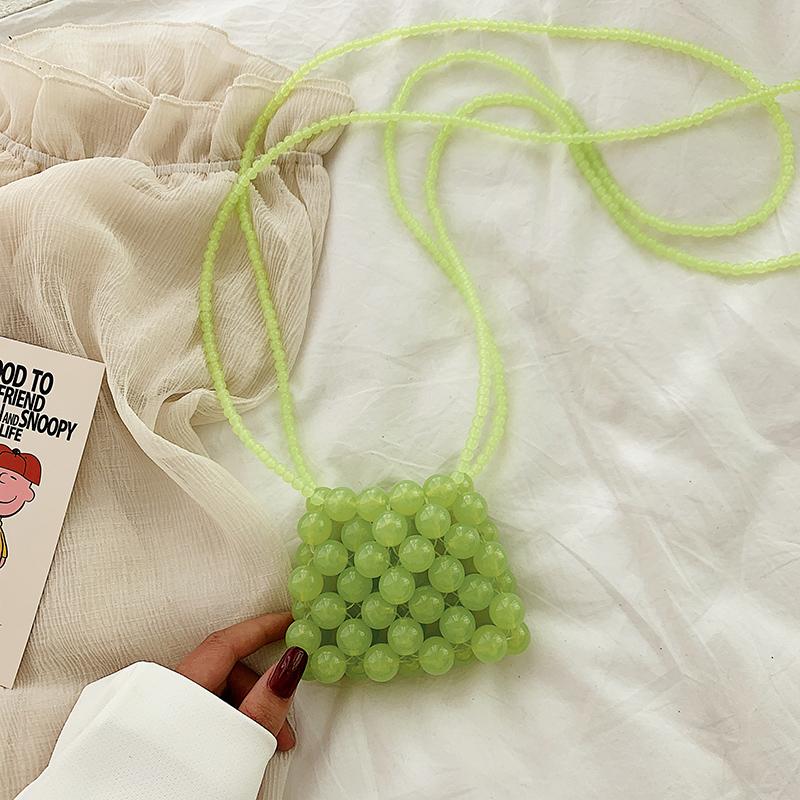 ins手工珍珠包单肩斜跨小包可爱女包包晚宴宴会包手提度假手拿包 Изображение 1