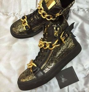 US mail fashion 2018 new GZ gold pattern double zipper lace up high top shoes, floral leather lovers mens shoes