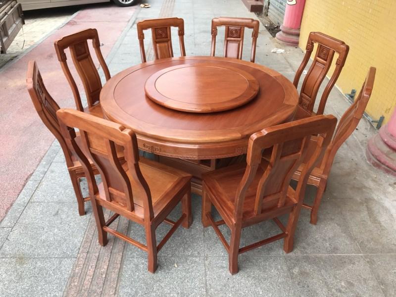 红木家具圆餐台面花梨木色菠萝格实木简约新中式餐桌椅带转盘组合