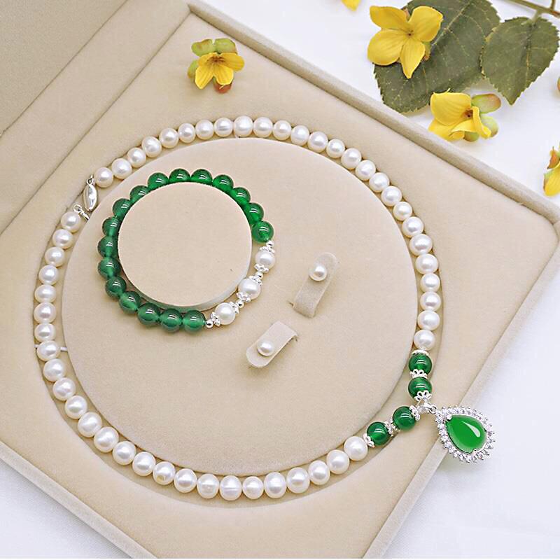 【520礼物】珍珠项链 女绿玉髓吊坠 送长辈 送妈妈好婆婆