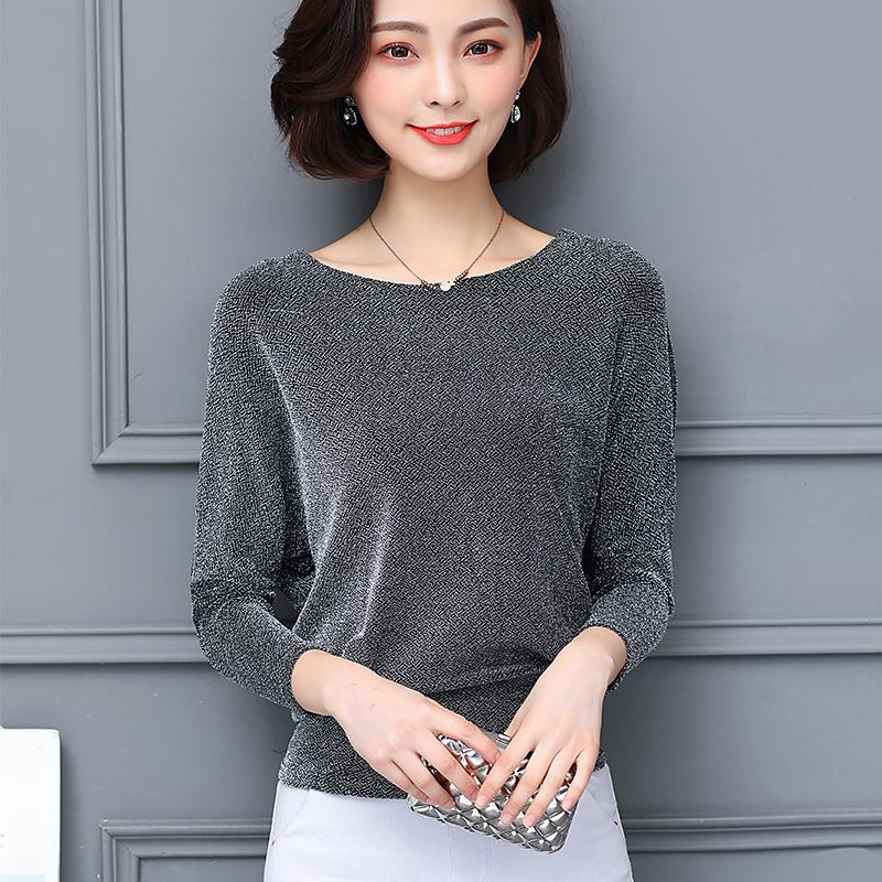 2019春秋亮丝长袖宽松短款网纱t恤(用73元券)