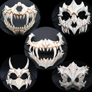 新品日本作家 倉戸みと 二次元装扮COS龙神猛虎夜叉鵺树脂面具