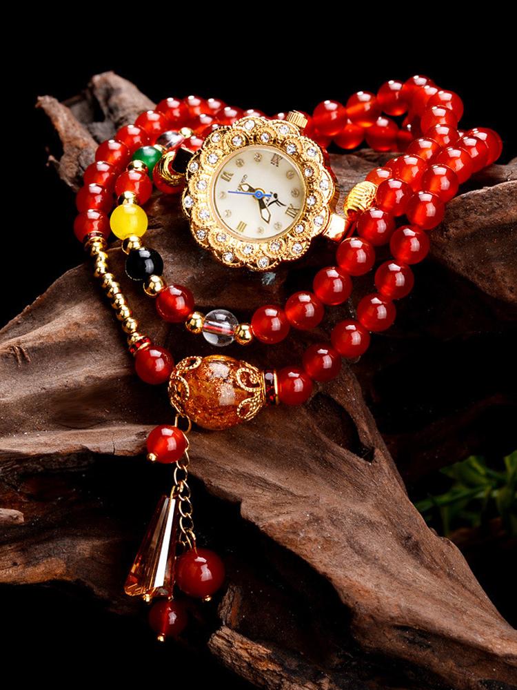 纯天然宝石红玛瑙手链表 韩版时尚水晶石榴石手链表 女生闺蜜手表