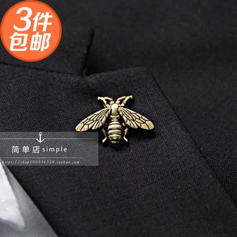 New bee shirt collar Mini gold silver retro alloy mens and womens suit Brooch high end authentic