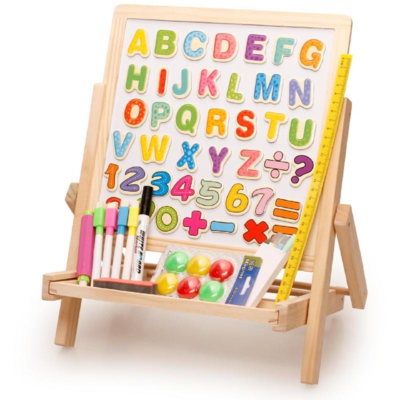 木丸子實木兒童畫板畫架小黑板升降支架式家用磁性畫畫套裝寫字板