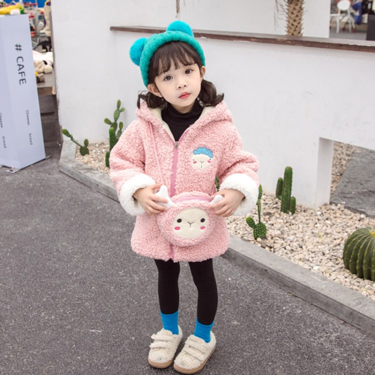 女童秋冬外套洋气儿童装韩版公主毛毛衣小童宝宝冬装加绒加厚上衣