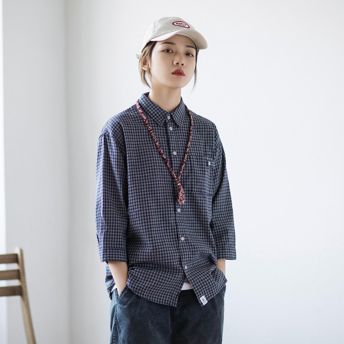 10-24新券epicsocotra日系中性bf风格子衬衫