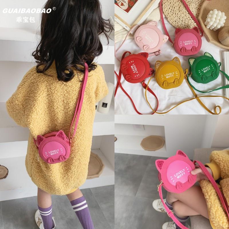 韩版宝宝单肩斜挎包小女孩公主可爱猫咪洋气时尚儿童零钱小包包潮