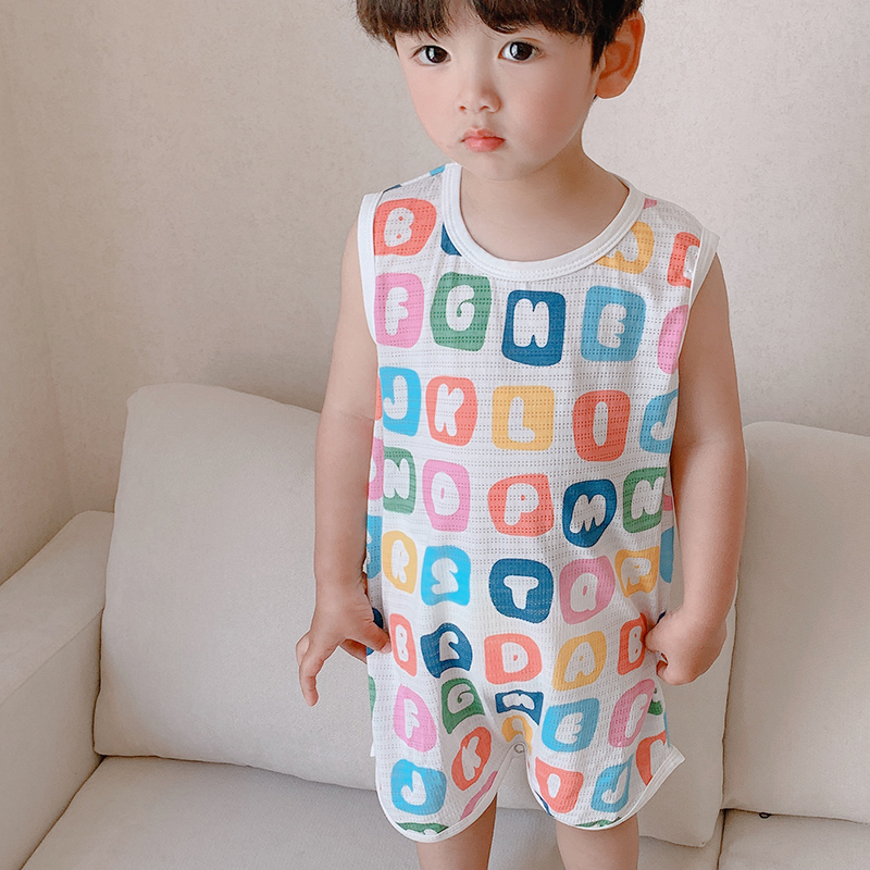 Childrens one-piece pajamas summer thin boys air conditioning clothes baby sleeveless Nightgown one-piece clothes girl anti kick sleeping bag