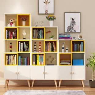 北欧书架落地儿童书柜置物架简约现代自由组合多层经济型省空间价格