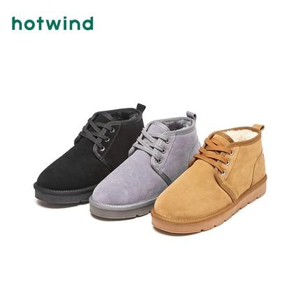 热风冬季新款潮流时尚男士系带雪地靴保暖厚底棉鞋H89M8803