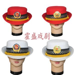 全棉帽子大檐帽舞台演出用品,军乐队服装配件,女式军鼓帽贝雷帽