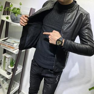 百搭立领皮衣加绒加厚潮男秋冬新韩版 修身 经典 夹克社会人网红外套
