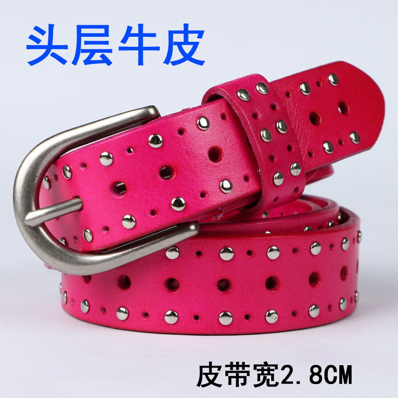Clearance rivet belt womens leather pin button top layer leather fashionable and versatile pure leather belt inlaid decorative belt