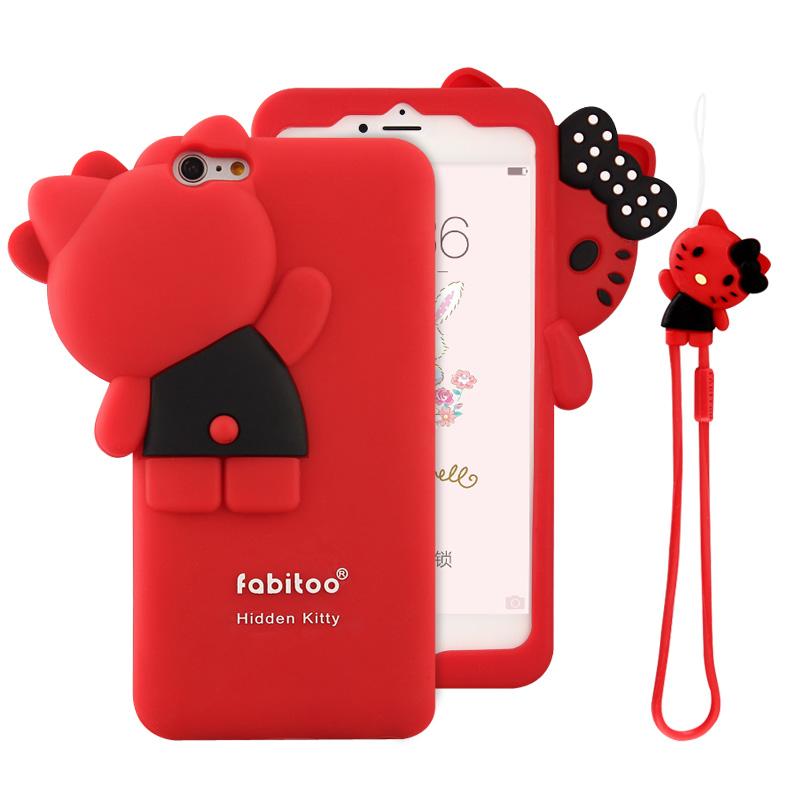 法芘兔 iphone6plus手機殼蘋果6s plus矽膠套防摔保護女款5.5掛繩