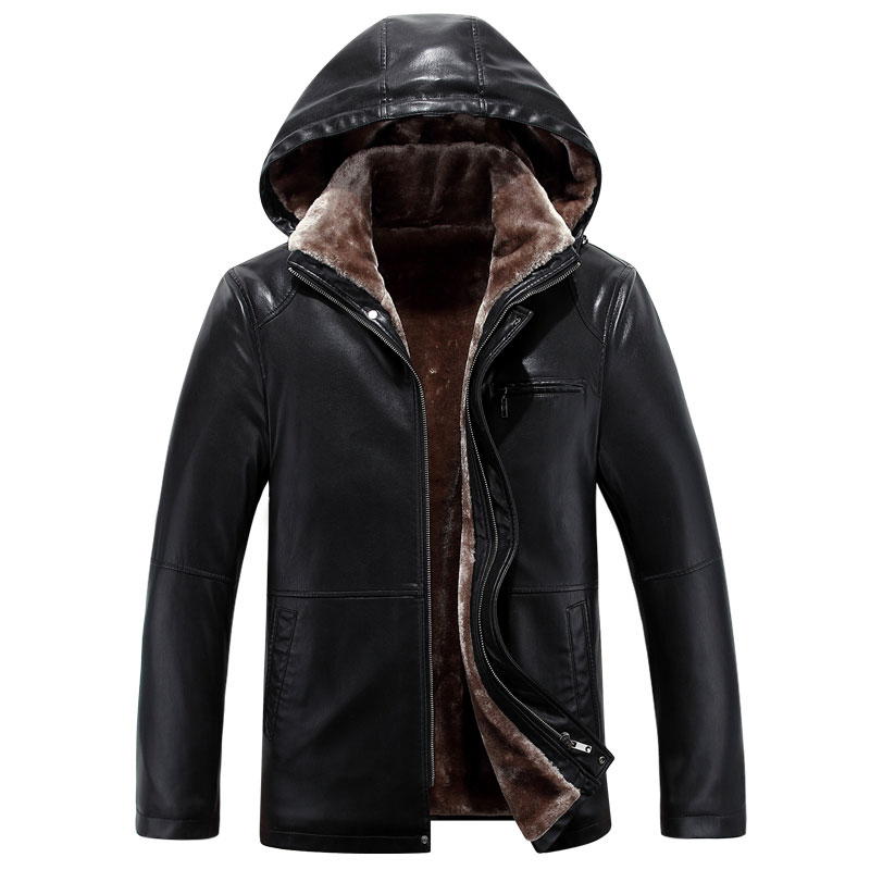 Mens fur new winter Haining fur integrated leather jacket with plush and thickened hat slim leather jacket