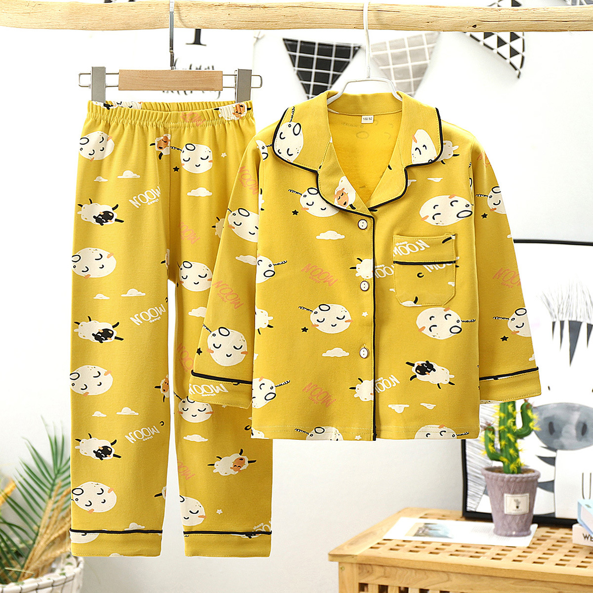Childrens autumn pajamas girl boy thin cotton loose cardigan long sleeve home wear childrens spring and autumn childrens suit